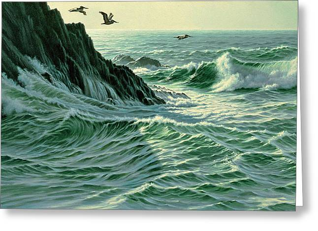 Pelican Paintings Greeting Cards - Above The Surf Greeting Card by Paul Krapf