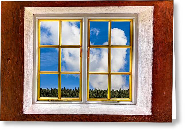 Looking Out The Window Greeting Cards - Above the Trees Greeting Card by Semmick Photo