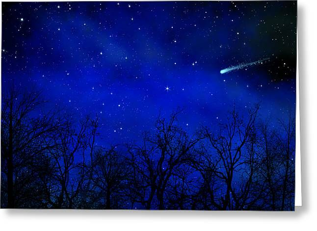 Glow Murals Greeting Cards - Above The Treetops Wall Mural Greeting Card by Frank Wilson