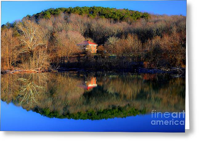 River Scenes Greeting Cards - Above The Waterfall Reflection Greeting Card by Michael Eingle