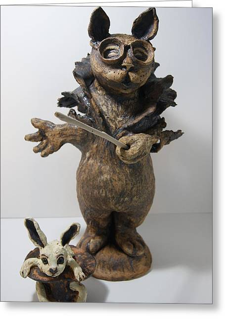 Sculpture. Ceramics Greeting Cards - Abracadadabra Greeting Card by Susan  Brown    Slizys art signature name