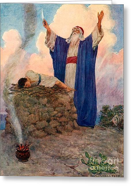 Isaac Greeting Cards - Abraham and Isaac on Mount Moriah Greeting Card by William Henry Margetson