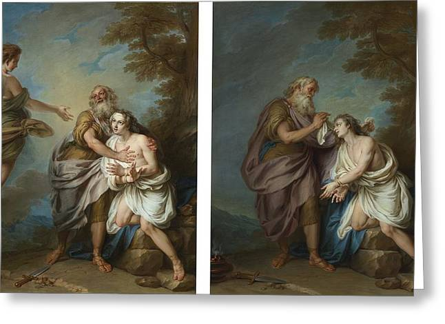 Abraham And The Angel Greeting Card by Celestial Images