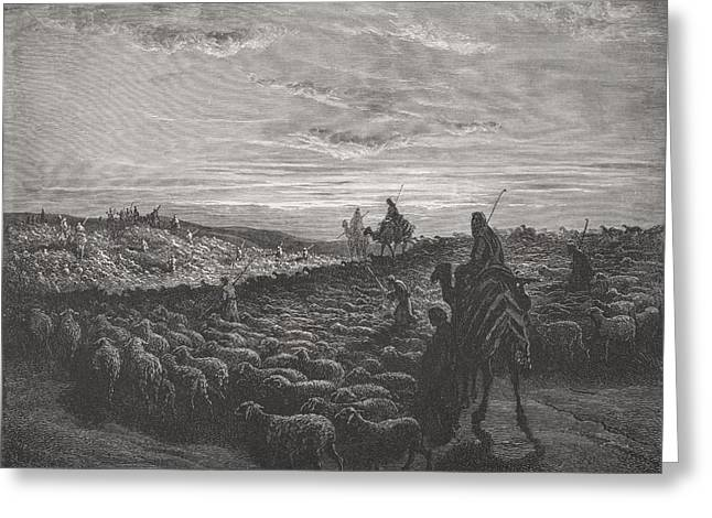 The Holy Bible Greeting Cards - Abraham Journeying Into the Land of Canaan Greeting Card by Gustave Dore