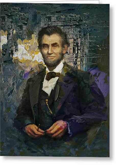 Abraham Paintings Greeting Cards - Abraham Lincoln 01 Greeting Card by Corporate Art Task Force