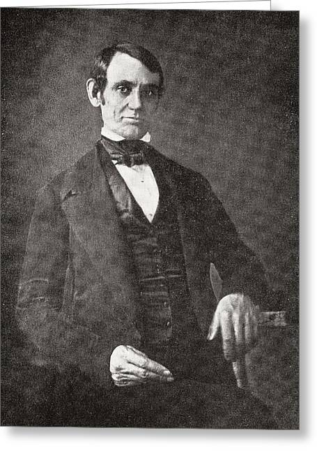 U.s.a. President Greeting Cards - Abraham Lincoln, 1809 – 1865.  16th President Of The United States Of America.  From Abraham Greeting Card by Bridgeman Images