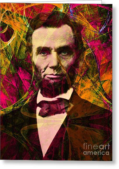 4th July Digital Art Greeting Cards - Abraham Lincoln 2014020502 Greeting Card by Wingsdomain Art and Photography