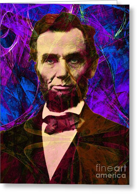 4th July Digital Art Greeting Cards - Abraham Lincoln 2014020502m118 Greeting Card by Wingsdomain Art and Photography