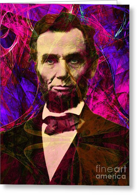 4th July Digital Art Greeting Cards - Abraham Lincoln 2014020502m68 Greeting Card by Wingsdomain Art and Photography