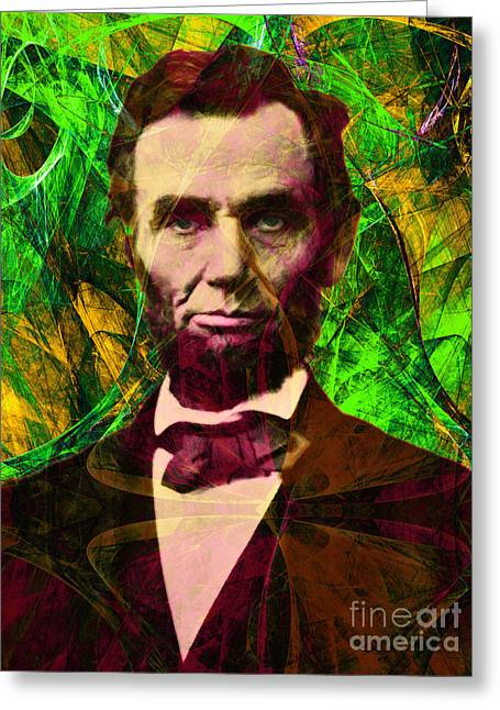 4th July Digital Greeting Cards - Abraham Lincoln 2014020502p68 Greeting Card by Wingsdomain Art and Photography
