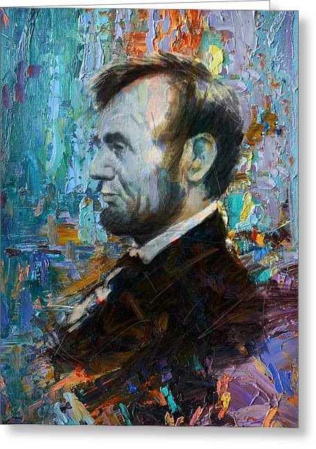 Abraham Paintings Greeting Cards - Abraham Lincoln 6 Greeting Card by Corporate Art Task Force