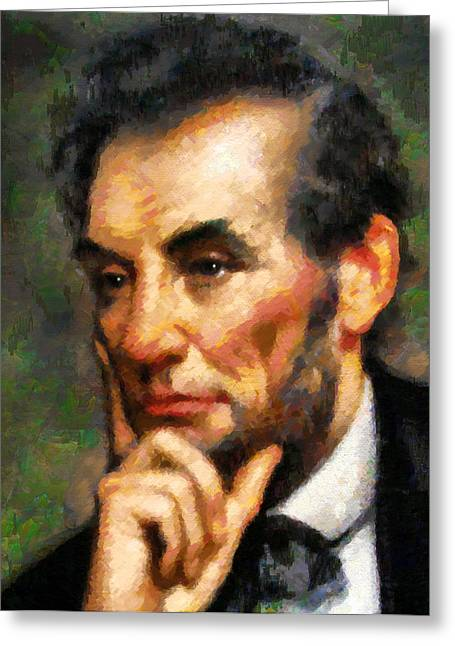 Fine Mixed Media Greeting Cards - Abraham Lincoln - Abstract Realism Greeting Card by Georgiana Romanovna