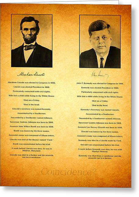 Conspiracy Greeting Cards - Abraham Lincoln and John F Kennedy Presidential Similarities and Coincidences Conspiracy Theory Fun Greeting Card by Design Turnpike