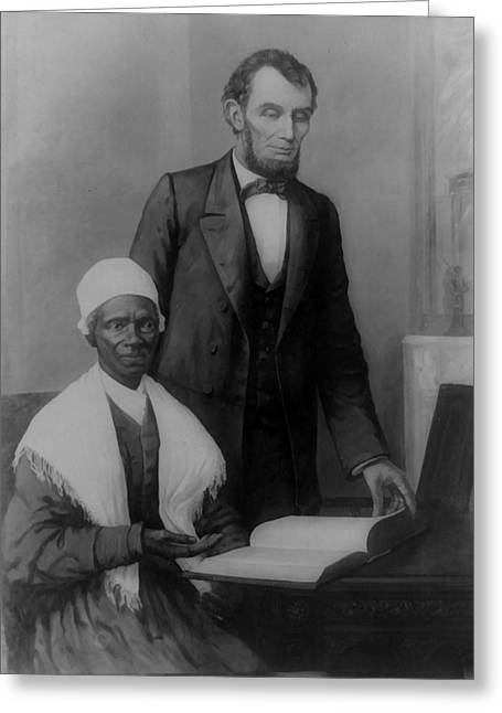 Abraham Lincoln And Sojourner Truth Greeting Card by Unknown