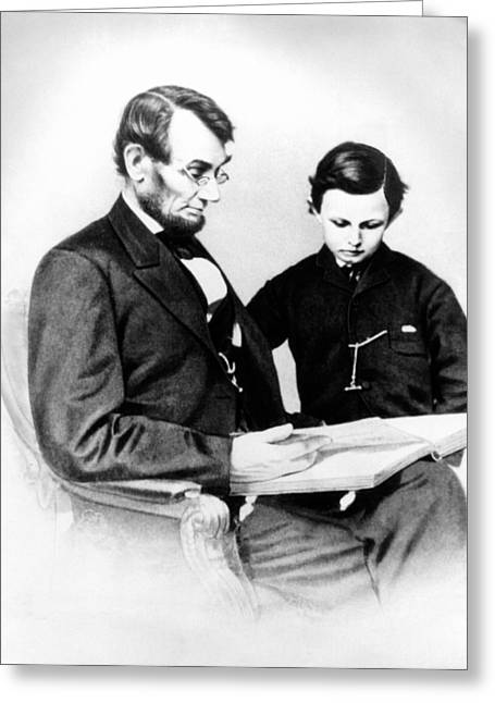 President Of America Photographs Greeting Cards - Abraham Lincoln and Tad Greeting Card by Anonymous