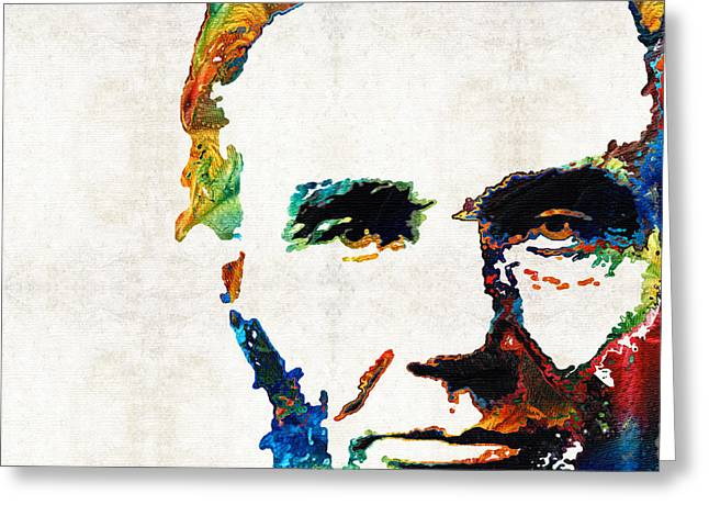 Recently Sold -  - Civil Greeting Cards - Abraham Lincoln Art - Colorful Abe - By Sharon Cummings Greeting Card by Sharon Cummings
