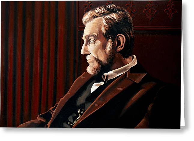 Abraham Paintings Greeting Cards - Abraham Lincoln by Daniel Day-Lewis Greeting Card by Paul Meijering