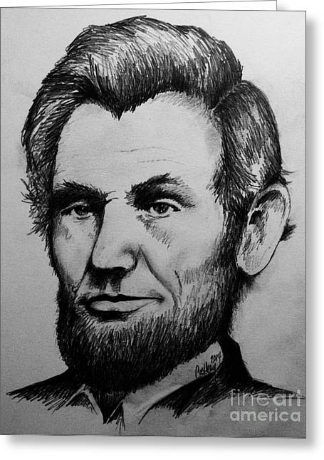 Proclamation Drawings Greeting Cards - Abraham Lincoln Greeting Card by Catherine Howley