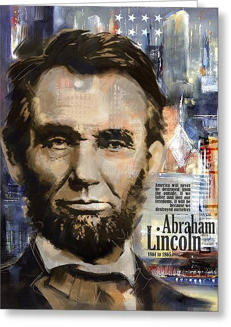 Black Leaders. Greeting Cards - Abraham Lincoln Greeting Card by Corporate Art Task Force