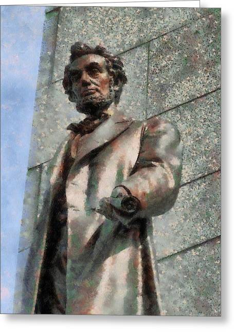 Lincoln Memorial Mixed Media Greeting Cards - Abraham Lincoln Greeting Card by Dan Sproul