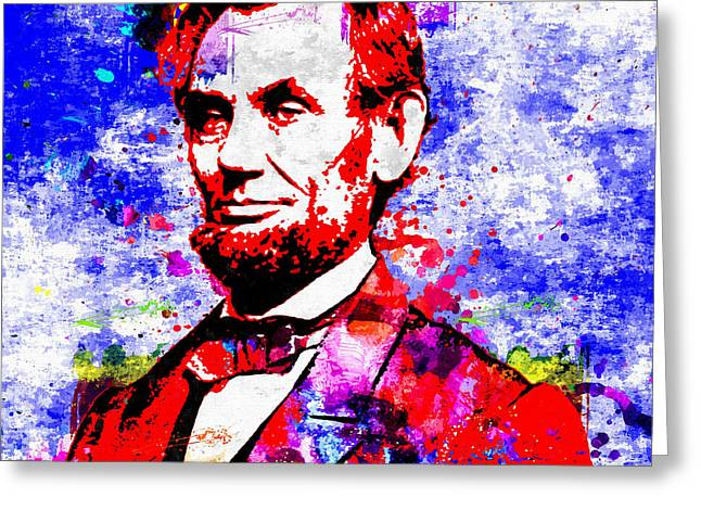 President Of America Mixed Media Greeting Cards - Abraham Lincoln Greeting Card by Daniel Janda