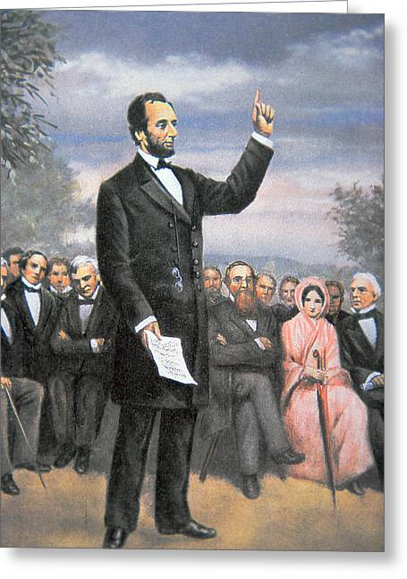 Assassinated Drawings Greeting Cards - Abraham lincoln Delivering the Gettysburg Address Greeting Card by American School