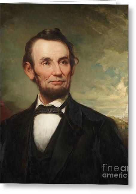 Clouds Posters Greeting Cards - Abraham Lincoln  Greeting Card by George Henry Story
