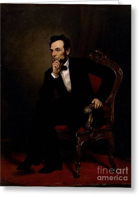 Gpa Greeting Cards - Abraham Lincoln Greeting Card by GPA Healy