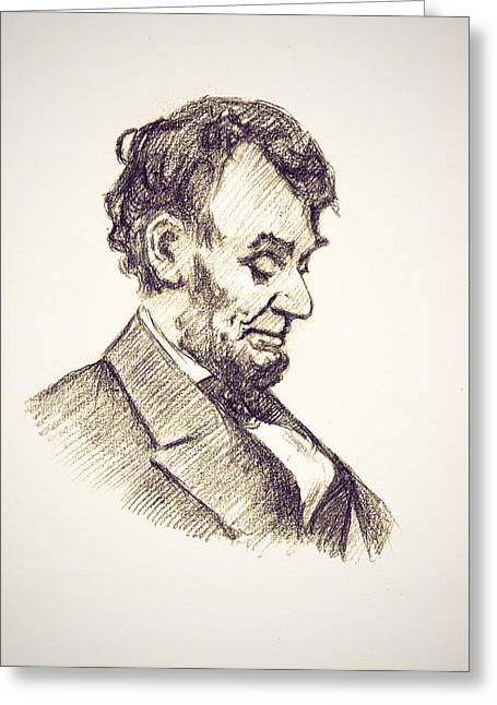 Abraham Lincoln Drawings Greeting Cards - Abraham Lincoln Head Bowed  Drawing 1910 Greeting Card by Unknown