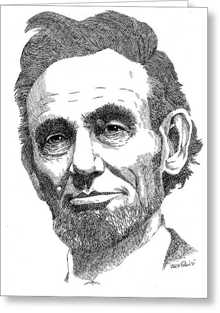 Hatching Greeting Cards - Abraham Lincoln Greeting Card by Jack Puglisi