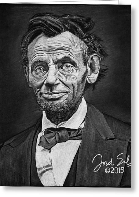 White Beard Pastels Greeting Cards - Abraham Lincoln Greeting Card by Jordan Spector
