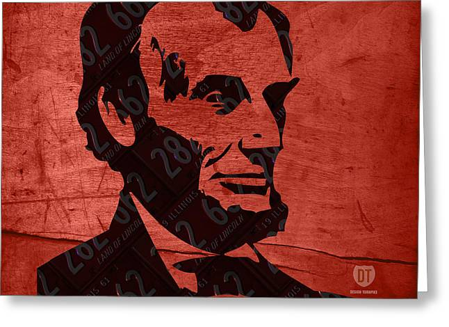 Auto-portrait Greeting Cards - Abraham Lincoln License Plate Art Greeting Card by Design Turnpike