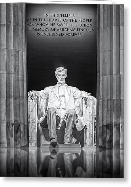 Greek Sculpture Greeting Cards - Abraham Lincoln Memorial Greeting Card by Susan Candelario