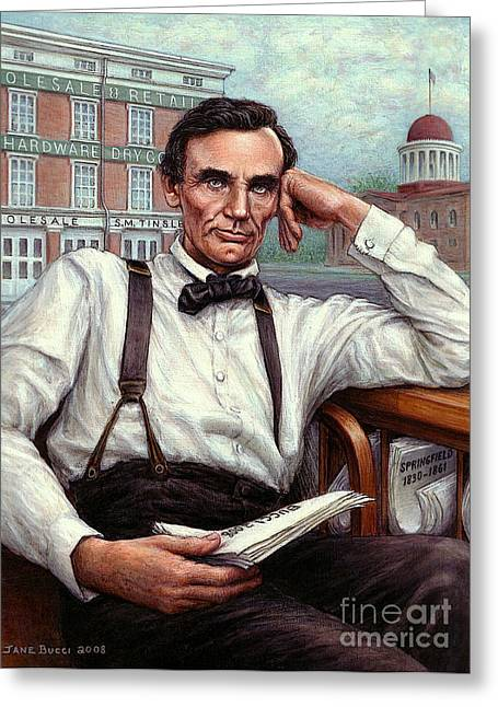 Occupy Greeting Cards - Abraham Lincoln of Springfield Bicentennial Portrait Greeting Card by Jane Bucci