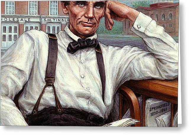 Abraham Lincoln of Springfield Bicentennial Portrait Greeting Card by Jane Bucci