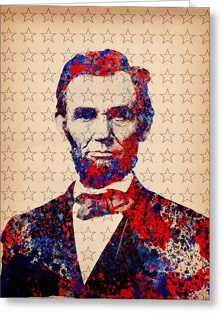 Abe Lincoln Art Greeting Cards - Abraham Lincoln Pop Art Greeting Card by MB Art factory