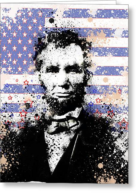 Civil Greeting Cards - Abraham Lincoln Pop Art Splats Greeting Card by MB Art factory