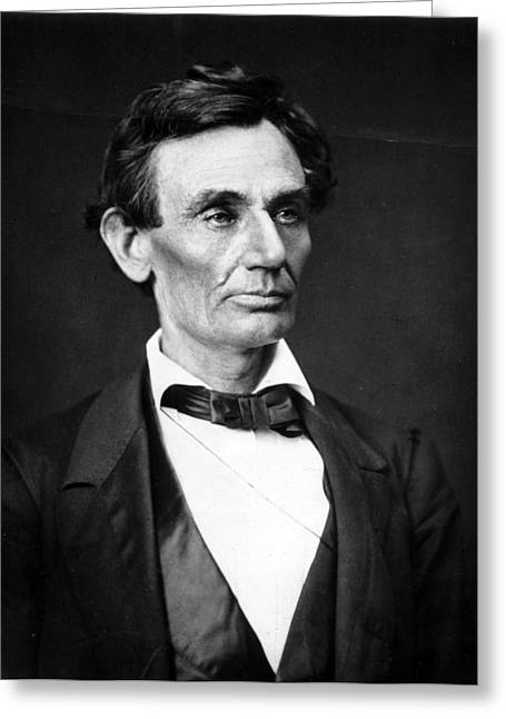 Presidential Photographs Greeting Cards - Abraham Lincoln Portrait Greeting Card by Anonymous