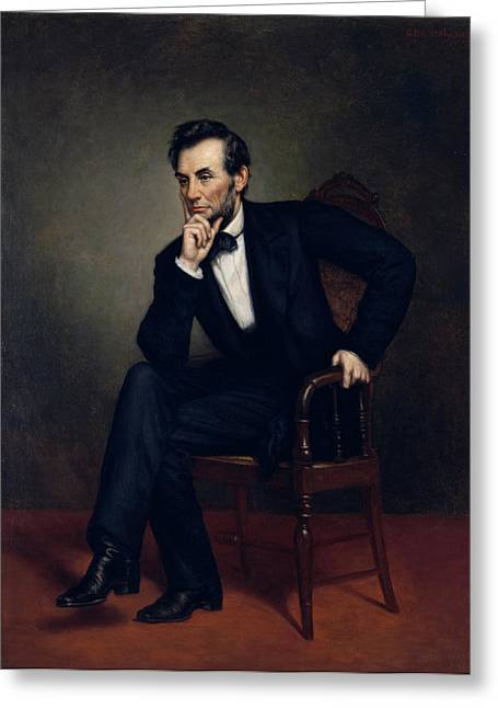 Slavery Paintings Greeting Cards - Abraham Lincoln Portrait Greeting Card by George Healy