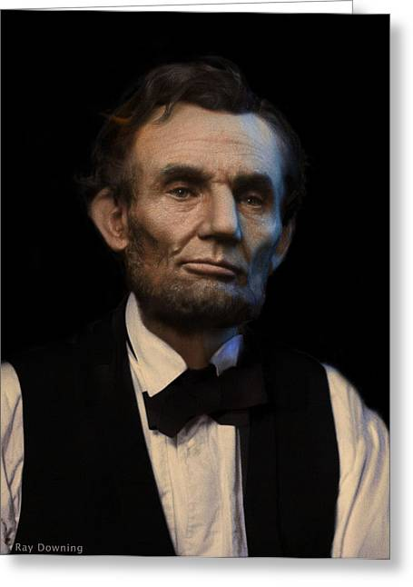 Abraham Lincoln Portrait Greeting Card by Ray Downing