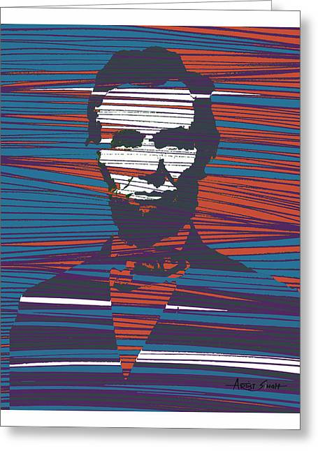 Most Paintings Greeting Cards - Abraham Lincoln poster Greeting Card by Artist  Singh