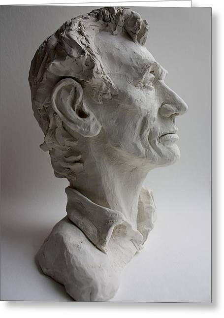Slavery Sculptures Greeting Cards - Abraham Lincoln- profile Greeting Card by Derrick Higgins