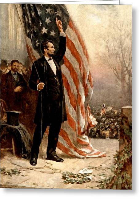 """battle Field"" Greeting Cards - Abraham Lincoln Raising The Flag Greeting Card by Ferris"