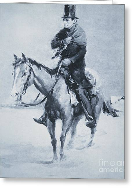 Assassinated Drawings Greeting Cards - Abraham Lincoln Riding his Judicial Circuit Greeting Card by Louis Bonhajo