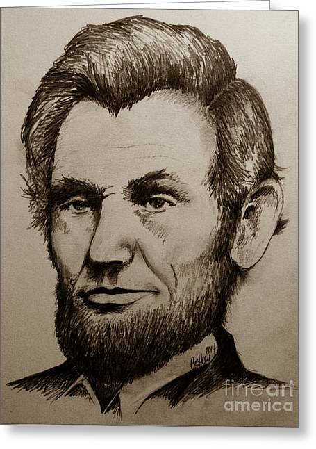 President Of America Drawings Greeting Cards - Abraham Lincoln Sepia Tone Greeting Card by Catherine Howley