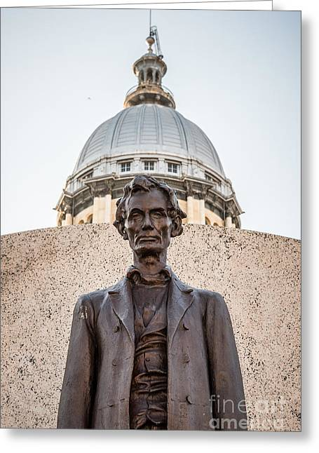 Connors Greeting Cards - Abraham Lincoln Statue at Illinois State Capitol Greeting Card by Paul Velgos