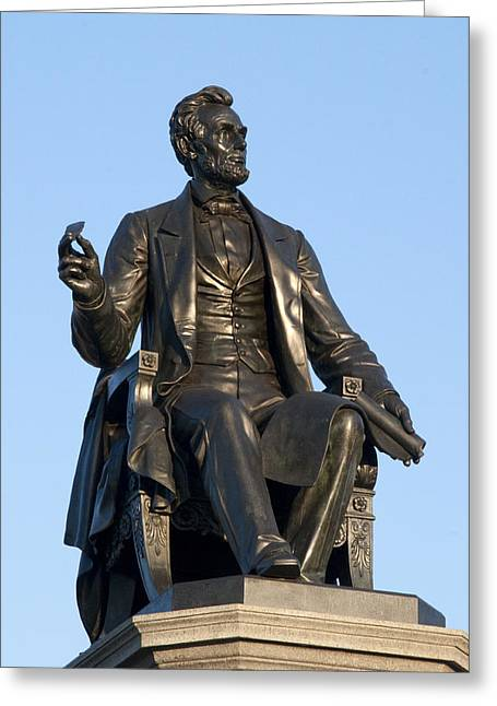 Kelly Greeting Cards - Abraham Lincoln Statue Philadelphia Greeting Card by Bill Cannon