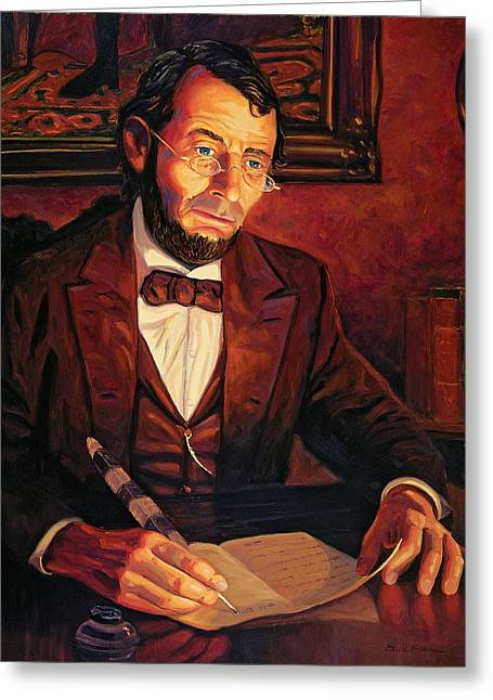 Abraham Paintings Greeting Cards - Abraham Lincoln Greeting Card by Steve Simon