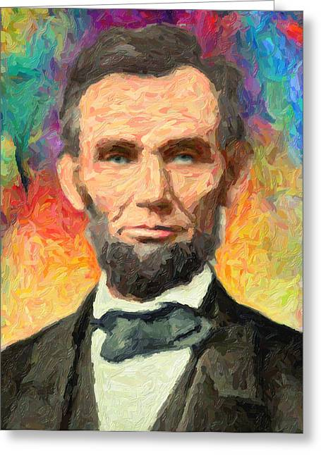 Old School Houses Paintings Greeting Cards - Abraham Lincoln  Greeting Card by Taylan Soyturk