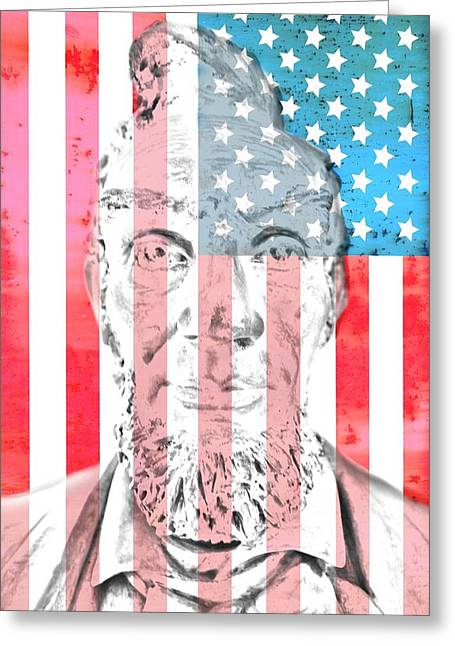 Proclamation Mixed Media Greeting Cards - Abraham Lincoln Vintage American Flag Greeting Card by Dan Sproul